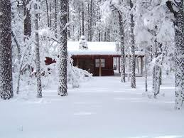 Image result for winter cabin snowing
