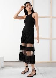 <b>Pleated Mesh</b> Stripe Midi Skirt