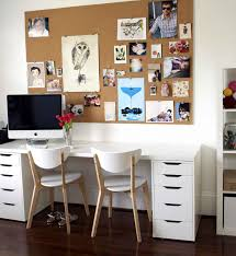 cool cork boards for home office with photographs and white desks with drawers and comfy chairs bulletin board ideas office