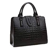 DI GRAZIA <b>Women's Handbag</b> (Black-<b>Croc</b>-Leather-<b>Tote</b>-<b>Handbag</b> ...