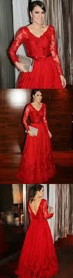 <b>Elegant</b> V-neck Lace Applique <b>Red</b> Prom Dress Belt Long Sleeves ...
