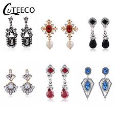 <b>CUTEECO</b> Indian JewelryTrendy Vintage <b>Black</b> Red Earring Clips ...