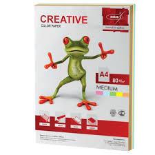 <b>Бумага цветная CREATIVE</b> color (<b>Креатив</b>) А4, 80 г/м2, 100 л., (5 ...