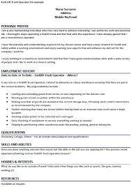fork lift truck operator cv example   job seekers forumsrelated  fork lift truck operator cover letter example