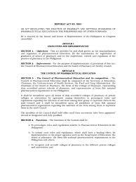 republic act pharmacy law pharmacy