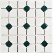 tile metro super octagon matte white oxford matte white with green dot    in x