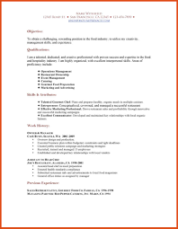 catering resume  moa format