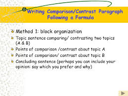 unit six compare and contrast to compare means to discuss how two  writing comparisoncontrast paragraph following a formula method  block organization topic sentence comparing