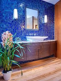 blue coastal bedroom design glossy walls white modern bathroom with lush living wall