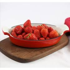 <b>Vitesse</b> Franch® Enamel Interior Cast Iron Oval Baking <b>Pan</b> Tray