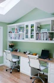 Appealing And Great Home Office Storage Ideas With Double Desk Wooden Materials White Chair Floor Lamination Wall Organized Shelves   D