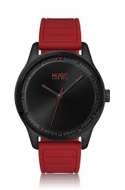 HUGO - Stainless-steel watch with red <b>silicone strap</b>