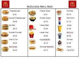 Burger places, Mcdonald's and Burgers on PinterestMenu Math- Mcdonalds