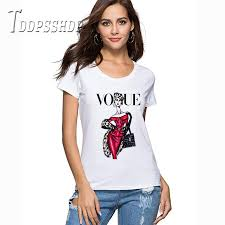 Slim Vogue Lady Printing <b>Women T Shirt 2019</b> Short Sleeve <b>T shirt</b> ...