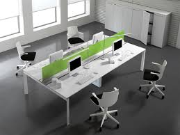 house design appealing modern office furniture design idea with white table with white coumpters white chairs with black seat cushions and gray floor tile alluring gray office desk