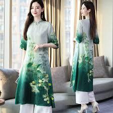 <b>2019 2019 Ao Dai</b> Set <b>Asian Clothes</b> Vietnam <b>Clothing</b> Qipao Long ...
