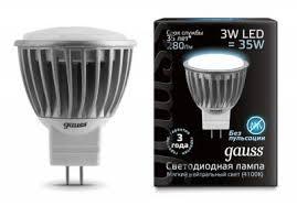 Светодиодная <b>лампа Gauss LED GU4</b> 3Вт дневной EB132517203 ...