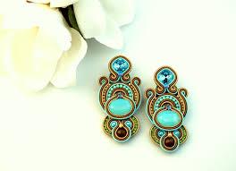 soutache earrings-hand made <b>jewelry</b>-light blue earrings-<b>spring</b> ...