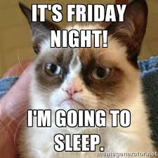 It's Friday night! I'm going to sleep. - Grumpy Cat | Meme Generator via Relatably.com