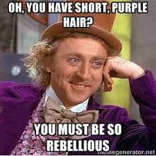 oh, you have short, purple hair? You must be so rebellious - willy ... via Relatably.com