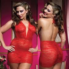 <b>Роскошное</b> Мини-Платье из Кружева с Трусиками - XL, красный