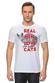 """<b>Футболка """"Real men love</b> cats"""" - кот, арт, авторские майки ..."""