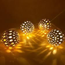 5M 10m <b>Morocco balls</b> LED String <b>Fairy Lights</b> Golden Christmas ...