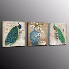 Canvas <b>Print</b> Peacock Bird Picture Painting Wall Art Home Decor <b>No</b> ...