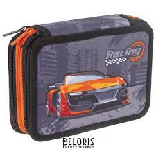<b>Пенал</b> без наполнения 3 отделения, ткань, 20,5х14 см, <b>Racing</b> ...