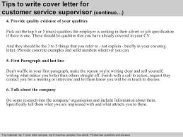 customer service supervisor cover letter      tips to write cover letter for customer service supervisor