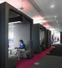 creative and colorful bbc north office cool black square meeting pod design with awesome office ceiling design