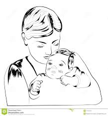 Image result for sketch of woman holding her child