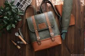 "<b>Backpack</b> genuine leather ""Satchel"" casual khaki red – заказать на ..."