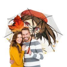 Зонт-трость двусторонний с деревянной ручкой осень .<b>аниме</b> ...