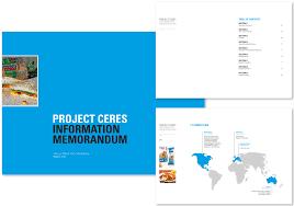 production and design project ceres information memorandum