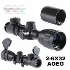 <b>Hunting</b> Rifle Scope <b>2</b>-<b>6x32</b> AOE <b>Red Green</b> Mil-dot Short ...
