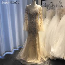 Real Picture <b>Prom</b> Dresses <b>Champagne Beaded Crystal</b> Sequins ...