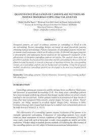 (pdf) quantitative evaluation of <b>camouflage patterns</b> on textile ...