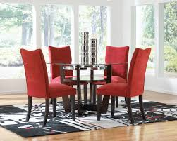 dining table parson chairs interior: red velvet parson chairs with apollo table and rug for dining room decoration ideas