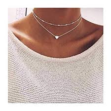 LittleB Simple Double-deck Choker Heart Pendant ... - Amazon.com