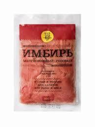 Четыре упаковки <b>Имбирь</b> маринованный <b>розовый</b>, 100г,, п/э упак ...