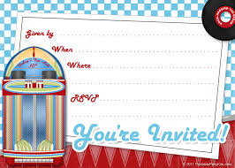 printable party invitations invite art for a s or invite art for a 1950s or retro party