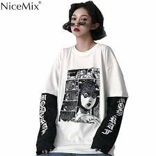 <b>NiceMix</b> Harajuku T <b>shirt</b> Women Fake 2 Pieces Print Japanese ...