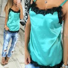 ROPALIA <b>Women Lace Vest</b> Girls Beach Spaghetti Strap Top ...
