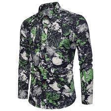 <b>2018</b> Cotton Spring <b>Autumn New Men'S</b> Fashion Flower Printed ...