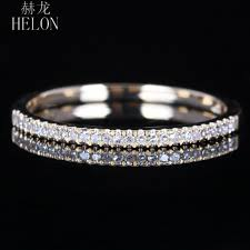 <b>HELON Solid 10K</b> Yellow <b>Gold</b> Pave Natural Diamond Half Eternity ...