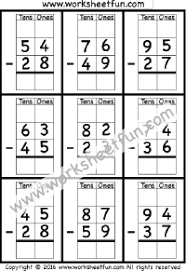 Subtraction Regrouping / FREE Printable Worksheets – Worksheetfun2 Digit Borrow Subtraction – Regrouping – 6 Worksheets