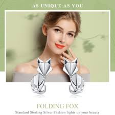 BAMOER Hot Sale Genuine 925 Sterling Silver <b>Fashion Folding</b> Fox ...