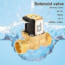 "G3/4"" <b>Brass</b> Electric Solenoid Valve,DC12V <b>Normal Closed</b> Water ..."