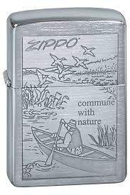 <b>Зажигалка</b> Zippo <b>Row Boat</b>, покрытие Brushed Chrome, матовая ...